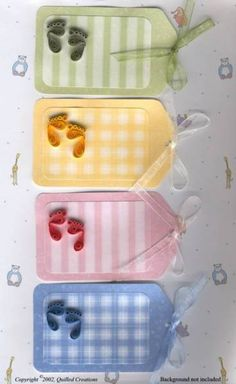 Gingham Baby Feet Tags - Quilled Creations Quilling Gallery