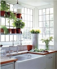 wooden countertops and lots of light