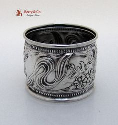 Art Nouveau Repousse Napkin Ring Sterling Silver 1900