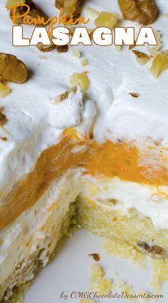 Pumpkin Lasagna | OMGChocolateDesserts.com | #pumpkin #lasagna #desserts