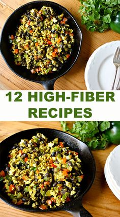 Here are 12 high-fiber recipes (those with at least a 10:1 carb-to-fiber ratio) that we think you'll love! #dinners #high-fiberrecipes #lunches #recipes #soups #vegan #vegetarian