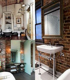 Best Loft Ideas - Loft Interior Design Ideas With Best Photos Brick Bathroom, Loft Bathroom, Bedroom Loft, Small Bathroom, Bathroom Ideas, Loft House Design, Loft Interior Design, Bathroom Interior Design, Interior Ideas