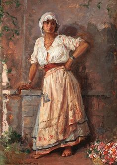 Flower Girl 1917 Metal Print by Vermont Nicolae. All metal prints are professionally printed, packaged, and shipped within 3 - 4 business days and delivered ready-to-hang on your wall. Woman Painting, Figure Painting, Classic Paintings, Post Impressionism, Tumblr, Traditional Paintings, Life Drawing, Portrait Art, Portraits