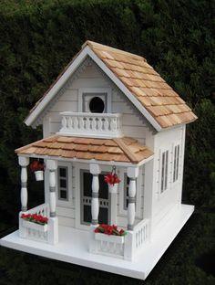 Home Bazaar Classic Series Newburyport Cottage Birdhouse - Bird House Showroom Wooden Bird Houses, Decorative Bird Houses, Bird Houses Diy, Fairy Houses, Play Houses, Bird House Feeder, Bird Feeders, Bluebird House, Hanging Flower Pots