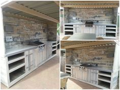 Outdoor kitchen and wall made of recycled old pallets.…