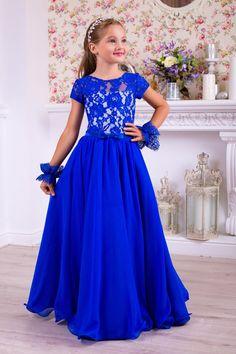 Blue linen dress for girls - Vintage blue dress, Long blue dress, Girls blue dress, Long chiffon dre Girls Dresses Uk, Girls Blue Dress, Cute Girl Dresses, Little Girl Dresses, Pretty Dresses, Beautiful Dresses, Flower Girl Dresses, Blue Chiffon Dresses, Royal Blue Dresses