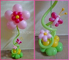 Balloon Flower & Balloon Butterfly topiary centrepiece. #balloons #pretty #centrepiece