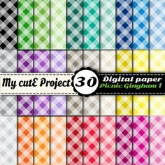 Gingham Picnic 1  Instant Download  DIGITAL PAPER by Mycuteproject