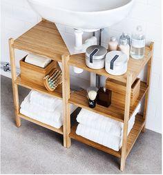 Ikea har dessa hyllor lämpliga under tvättställ