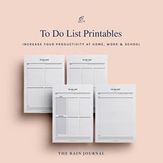 The Rain Journal Printable To Do List Planners - have a look at our huge To Do List Planner Printable library. Find daily, weekly, monthly and yearly checklist, to do list for home, school and work. These are perfect for your binders such as filofax and kikki k.  #printableplanner #planners #printables #printableplanners To Do Lists Printable, Daily Planner Printable, Printables, Wall Planner, Planner Pages, Planner Ideas, Desk Stationery, Business Planner, Office And School Supplies