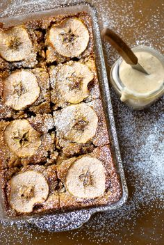 Country apple brownies with cinnamon milk icing.