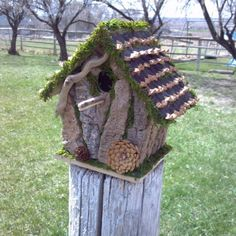 Bark and Moss covered 22 Great DIY Birdhouse Ideas for Your Garden