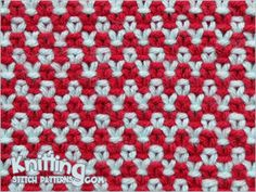 Two color Linen Stitch. Free Knitting Pattern includes written instructions and video tutorial. Slip Stitch Knitting, Knitting Basics, Knitting Stiches, Knitting Videos, Loom Knitting, Crochet Stitches, Knit Crochet, Free Knitting, Dishcloth Knitting Patterns