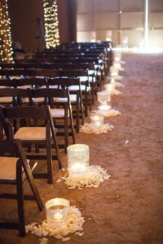romantic indoor barn wedding aisle decoration ideas with lights