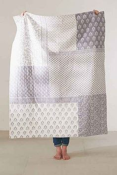 Nice inspiration for a simple patchwork throw. Plum & Bow Mira Kantha Throw Blanket Colchas Quilting, Quilting Projects, Quilting Designs, Quilt Baby, Big Block Quilts, Quilt Blocks, Quilt Sets, Backing A Quilt, Low Volume Quilt