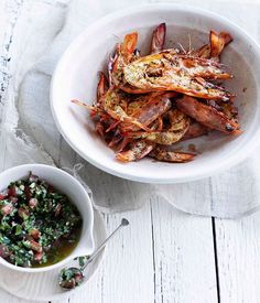 Australian Gourmet Traveller fast seafood recipe for barbecued prawns with pico de gallo. Prawn Recipes, Beer Recipes, Barbecue Recipes, Fish Recipes, Seafood Recipes, Mexican Food Recipes, Cooking Recipes, Ethnic Recipes, Campfire Recipes