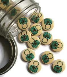 10 Pieces Blue Handbag Wood Button. by TheoriesAndStories on Etsy