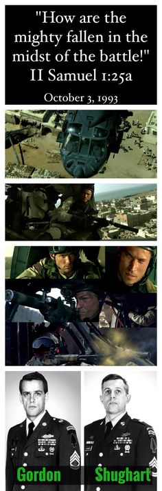 These two brave Delta Force Snipers volunteered to be inserted at the BlackHawk crash site in Mogadishu in an attempt to save the pilot, Michael Durant.  They knew that it was very likely that they would not survive. Durant was captured but later released. Master Sergeant Gary Gordon and Sergeant First Class Randall Shughart were killed in action. These are true American heroes.