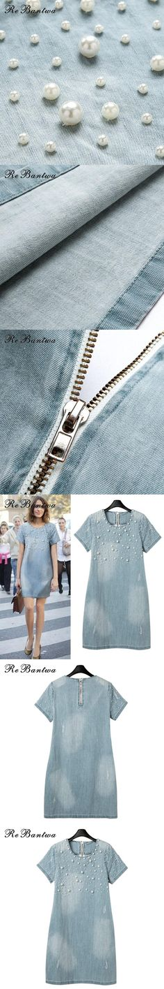 Rebantwa 2017 Summer Dress Plus Size 5XL Dress Women Jeans Sundress Casual Party Denim Dresses Vestidos Beaded Tunic Dresses 537
