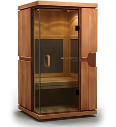 The mPulse Believe is a full-spectrum infrared home sauna for two to three people that features Solocarbon heating technology, available exclusively from Sunlighten Saunas, Home Design, Interior Design, Home Infrared Sauna, Infared Sauna, Tall Cabinet Storage, Locker Storage, Portable Sauna, Sauna Design