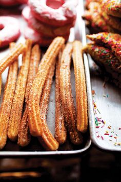 Churros (Mexican Fritters) with VIDEO! TIP: To get churros with a moist center and a crisp, caramelized exterior, heat the oil to 400 degrees. Best Mexican Recipes, Sweet Recipes, Favorite Recipes, Easy Recipes, Comida Latina, Delicious Desserts, Yummy Food, Cooking Tips, Cooking Recipes
