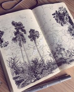Fabulous Drawing On Creativity Ideas. Captivating Drawing On Creativity Ideas. Sketchbook Drawings, Drawing Sketches, Art Drawings, Moleskine Sketchbook, Sketching, Art And Illustration, Sketchbook Inspiration, Painting & Drawing, Drawing Trees