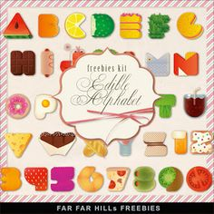 Far Far Hill - Free database of digital illustrations and papers: New Freebies Kit - Edible Alphabet