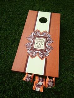 This couple had a custom corn hole game made for their big day.