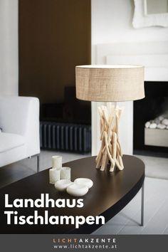 """Die Landhaus Tischleuchte mit Holzfuß und runden Lampenschirm findest du bei Lichtakzente.at. Die Tischlampe """"Driftwood"""" trägt zur gemütlichen Beleuchtung im Esszimmer, Wohnzimmer, Schlafzimmer, Flur oder in einem Hotelzimmer bei. Lampe Tisch, Tischleuchte aus Treibholz // #leuchte #wohnen #beleuchtung #licht #interiordesign #lampen und leuchten #lichtakzente Interiordesign, Driftwood, Home Decor, Home Lighting, Lighting Ideas Bedroom, Decoration Home, Room Decor, Drift Wood, Interior Decorating"""