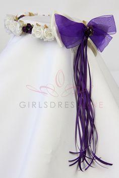 Ivory/Eggplant Head piece for the flower girl KHB007-IG $15.99 on www.GirlsDressLine.Com