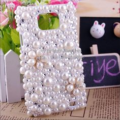 cute long ear dog rhinestone and pearl phone cover for iphone 4 4s . 7b065a192