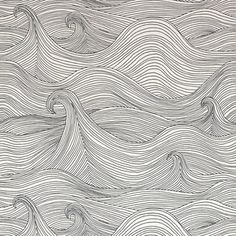 Seascape wallpaper by Abigail Edwards -- love this, can do so much with it; like a whimsically modern take on Hokusai waves