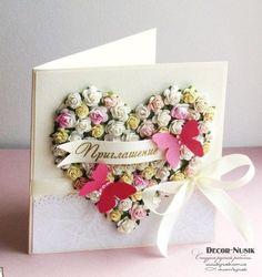View album on Yandex. Wedding Cards Handmade, Old Cards, Congratulations Card, Heartfelt Creations, Handmade Decorations, Cute Cards, Creative Cards, Anniversary Cards, Cardmaking