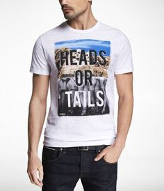 FITTED SLUB GRAPHIC TEE - HEADS OR TAILS at Express... YE$