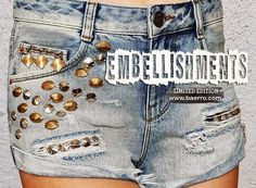 The embellished denim shorts are the summer trend this year. Design Studio, Exclusive Collection, Summer Trends, Denim Shorts, Fashion Trends, Jean Shorts, Trendy Fashion