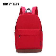 TINYAT Women Canvas Casual Daypacks Backpack Computer 14 15 inch Laptop backpacks for teenage girls travel back Mochila T101 Red