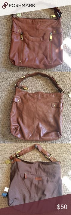 VIA SPIGA Leather Hobo Bag  - excellent condition  -front pocket with magnetic closure (7' Wide 8' Deep) - 1 inside zipper pouch  - 2 inside pouches  14' H  16' L  4' W    7 1/2' strap drop length Via Spiga Bags Hobos