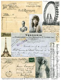 Scraps Collage Sheet, Collage Art, French Artwork, Paris, Vintage Tags, Digital Stamps, Diy Projects To Try, Digital Collage, French Vintage