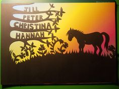 Original, hand drawn, personalised 'horse in meadow' papercut by Nina Byers