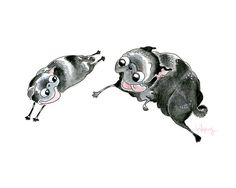 The Chase 5x7 black pug art print of a watercolor pug drawing - Two black pugs, pug puppy, black dog art, cute art, happy art by Inkpug