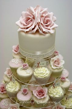 Vintage Pearls and Roses Wedding Cupcake Tower @ http://JuliesCafeBakery.com #cupcakes #recipe #cakes