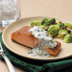 Baked Spiced Salmon Recipe -The cool yogurt sauce is a pleasant accompaniment to the spice-rubbed fish.