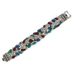 Elegant Carved Gems Diamond Fruit Salad Bracelet | From a unique collection of vintage more bracelets at https://www.1stdibs.com/jewelry/bracelets/more-bracelets/