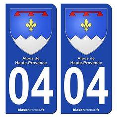 2 Stickers plaque d'immatriculation auto 04 Alpes de Haute-Provence - Armoiries