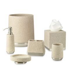 Ampersand Lafayette Lotion Dispenser In Taupe - This resin and metal bath ensemble mixes actual sandstone to create a cultured granite look for your bathroom. Accented with brushed metal bases, each piece gives your decor an updated, contemporary look.