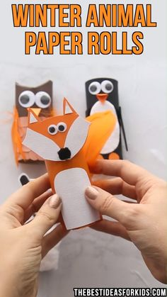 Winter Animal Paper Rolls - these winter animal paper rolls are the perfect Winter craft for kids! Make a penguin, owl, fox and polar bear! #bestideasforkids