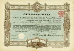 HWPH AG Actien-Bierbrauerei zu Reisewitz Plauen bei Dresden, 24.04.1896, Genussschein A zur Aktie #837
