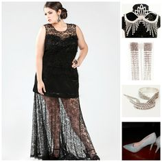#LacePromDress #LaceDress #BlackLacePromDress #BlackLacePromGown Lovely in black lace and rhinestones!  This gorgeous lace prom dress comes in sizes 14 to 32!
