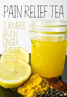 Turmeric Lemon Ginger Cayenne Tea for pain relief - tackle inflammation and pain naturally and inexpensively!
