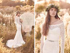 Off the shoulder wedding dress by Mikaella Bridal